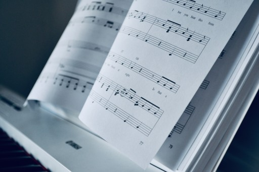 Sheet of music notes placed on a piano